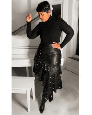 Plus Size Fashion Sexy Ruffled Pearl PU Leather Skirt OMY-5071