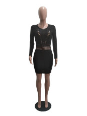 Sexy Hole Hollow Out Long Sleeve Bodycon Dress OMY-5040