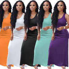 Plus Size Summer Sexy Sleeveless Solid Color Dress OMY-8034
