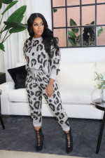 Plus Size Leopard Print Long Sleeve 2 Piece Sets WAF-7121