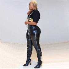 Black PU Leather Zipper Long Pants OMY-5078