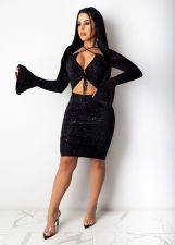 Sexy Flare Sleeve Hollow Out Bodycon Club Dress HMS-5412