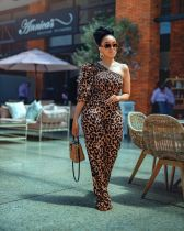 Sexy Leopard Print Single Sleeve Jumpsuit OMY-8020
