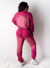 Gradient Letter Print Sweatshirt Two Piece Sets OMY-5183