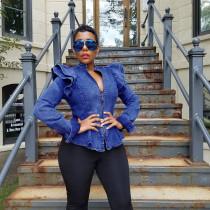 Plus Size Sexy Ruffle Fashion Zipper Slim Denim Coat OMY-5067