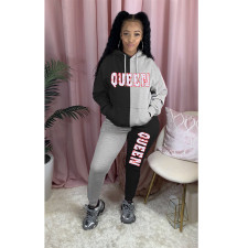 Plus Size Letter Print Patchwork Plush Hoodies 2 Piece Sets MTY-6373