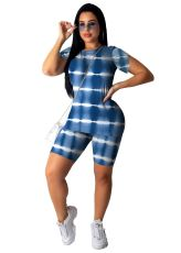 Printed Sports Casual Short Sleeve Shorts Two Piece Set OMY-8033
