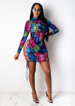 Sexy Snake Skin Print Lace Up Hollow Bandage Dress SHD-9339