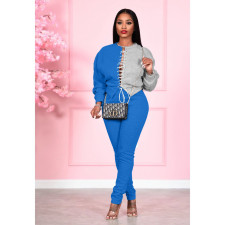 Plus Size Contrast Color Patchwork Lace Up Sweatshirt 2 Piece Sets FSL-121