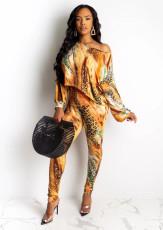 Tie Dye Leopard Off Shoulder Two Piece Sets OMY-5170