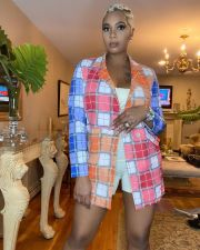 Colorful Plaid Full Sleeve Notched Collar Blazer Coat QY-5223