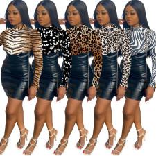 Sexy Printed High Waist PU Leather Patchwork Mini Dress WY-6722