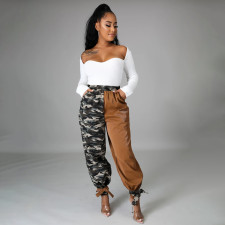 Camouflage Color Block Casual Overalls Pants WTF-9047