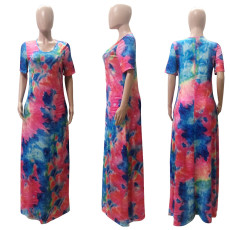 Plus Size Casual Tie-dye Short Sleeve Maxi Dress WTF-9010