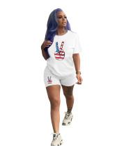 Plus Size Printed Short Sleeve Shorts Two Piece Set OMY-8056