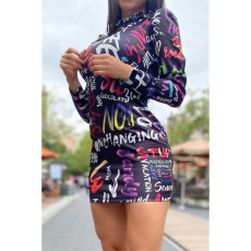 Plue Size 5XL Printed Long Sleeve Mini Dress ASL-7007
