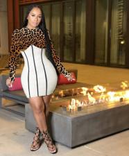 Leopard Print High Waist Patchwork Bodycon Mini Dress Y-6719