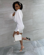 Sexy Long Sleeve Ruched White Mini Dress MK-3039