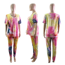 Plus Size 5XL Tie-dye Print T-shirt Pants Casual Suit WTF-9009