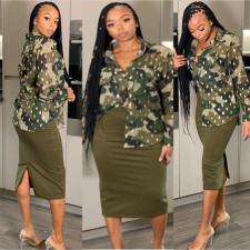 Camouflage Chiffon Long Sleeve Shirt Top TMF-5027