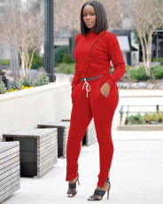 Casual Solid Color Zipper Long Sleeve Pants Two Piece Set SIF-0036