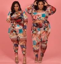 Plus Size 5XL Tie-dye Print Fashion Casual Long Sleeve Pants Two Piece Set WTF-9020