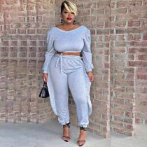 Casual Solid Color Long Sleeve Pants Two Piece Set TMF-5031