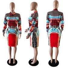Plus Size Printed Tight Long Sleeve Midi Dress WTF-9018