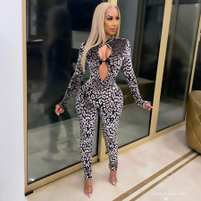 Sexy Tight Long Sleeve Printed Jumpsuit FENF-054