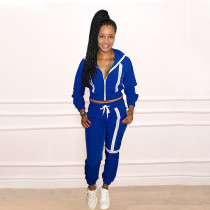 Spliced Long Sleeve Coat Pants Casual Sports Suit WTF-9023