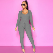 Sexy Slim Rib Long Sleeve Jumpsuit ATDF-5215