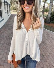 Casual Long Sleeves Buttons White Tops LSL-6182