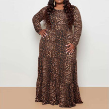 Plus Size 5XL Leopard Print High Waist Big Swing Maxi Dress CYA-1384