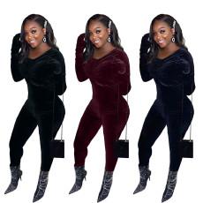 Sexy Velvet Zipper Long Sleeve Tight Jumpsuit CQF-925