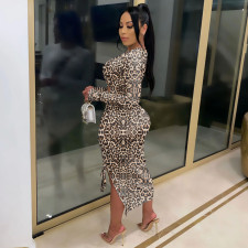 Fashion Sexy Leopard Print Long Sleeve Tie Up Hollow Out Midi Dress CQF-916