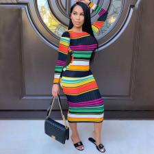 Color Slim Long Sleeve Dress WTF-9036