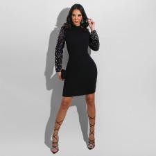 Sexy Seuqined Long Sleeve Mini Dress YD-8344