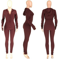 Solid Color Finger Hole Long Sleeve Hooded Casual Jumpsuit RUF-8168