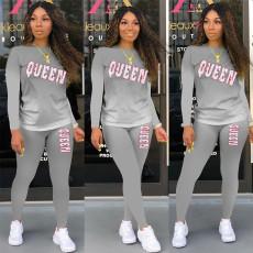 QUEEN Letter Gradient Print Fashion Casual Sports Long Sleeve Pants Suit APLF-1127