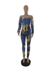 Fashion Print Off Shoulder Long Sleeve Jumpsuit CQF-920