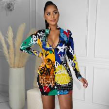 Plus Size Sexy Printed Long Sleeve Mini Dress YIY-5249