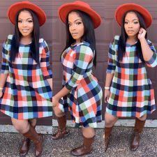 Colorful Plaid Long Sleeve Mini Dress XMY-9282