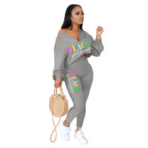 Letter Print Casual Solid Color Long Sleeve Pants Two Piece Set OMY-8070