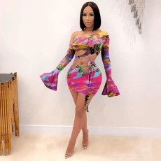 Fashion Printed Sexy Flared Sleeve Lace-Up Skirt Suit CQF-928
