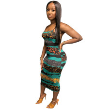 Sexy Sling Print Dress OMY-8069