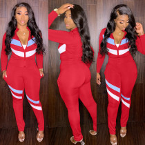 Casual Sports Patchwork Two Piece Pants Set XMY-9280