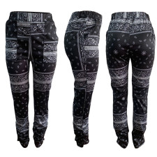 Plus Size High Waist Straight Printed Casual Pants AWYF-703