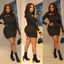 Sexy Hole Long Sleeve Bodycon Dress RSN-784