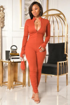 Solid Long Sleeve Zipper Jumpsuits Without Mask PIN-8556