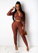 Sexy Hooded Leather Two Piece Pants Set YIS-525
